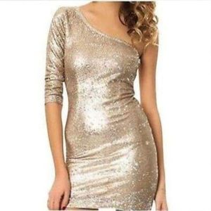 BB Dakota Gold Sequin One-Shoulder Dress NWT